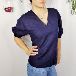 COS navy blue linen cotton blend loose fit top 881